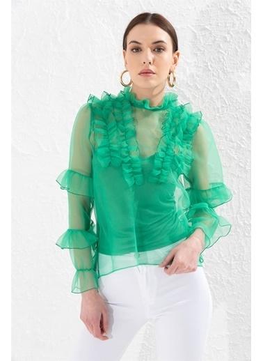 Setre Yeşil Dik Yaka Uzun Kollu Bluz Yeşil